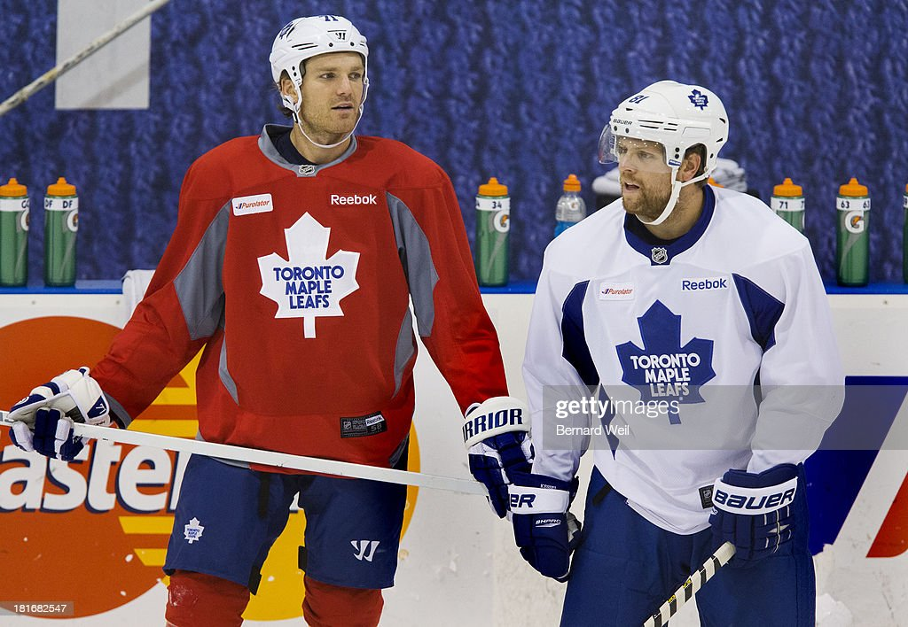 TORONTO, ON - SEPTEMBER 23 - Toronto Maple Leafs David Clarkson (left) and Phil Kessel took part in a practice at The Mastercard Centre, Etibocioke, although both may be suspended for their part in last night's fight in the third period against the Buffalo Sabres. September 23, 2013.
