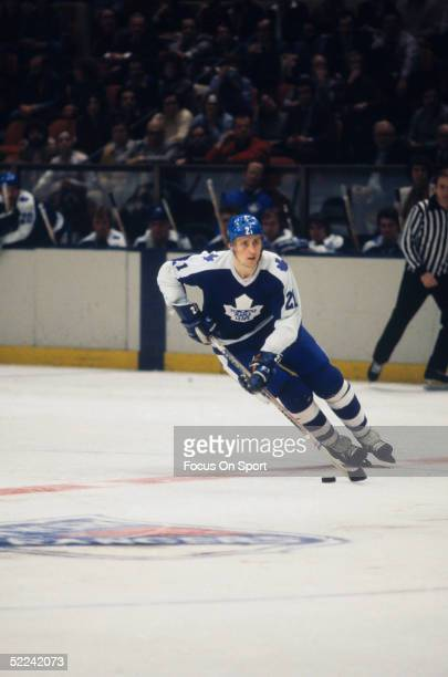 Toronto Maple Leafs' defenseman Borje Salming skates with the puck against the New York Rangers during a game at Madison Square Garden circa 1978 in...