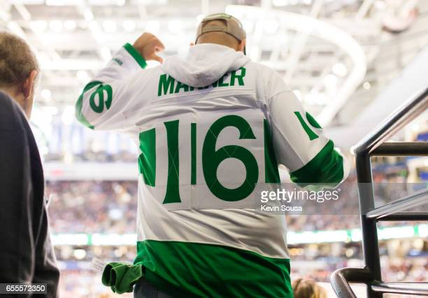Toronto Maple Leafs fan shows off his Mitch Marner jersey during the second period at an NHL game against the Chicago Blackhawks at the Air Canada...
