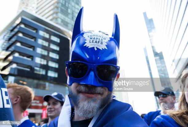Toronto Maple Leafs fan shows support before the Leafs play the Washington Capitals in Game Six of the Eastern Conference First Round during the 2017...