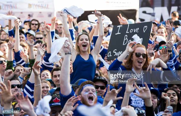 Toronto Maple Leafs fans cheer before the Leafs play the Washington Capitals in Game Six of the Eastern Conference First Round during the 2017 NHL...