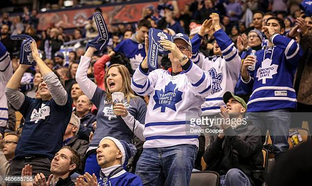 TORONTO ON JANUARY 28 Toronto Maple Leafs fans cheer for their team late in the 3rd period after James van Riemsdyk of the Toronto Maple Leafs scored...