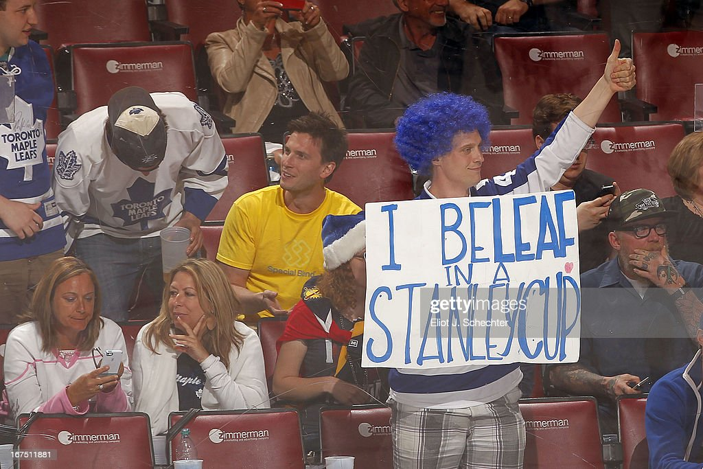 Toronto Maple Leafs fans loan their support in a 4-0 win against the Florida Panthers at the BB&T Center on April 25, 2013 in Sunrise, Florida.