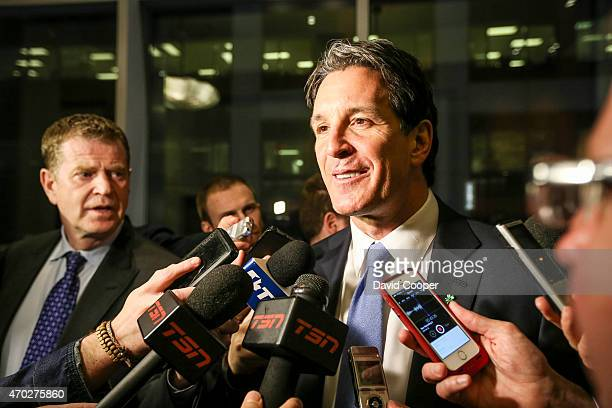 TORONTO ON APRIL 18 Toronto Maple Leafs General Manager Brendan Shanahan reacts to loosing the draft lottery as he attends the NHL Draft Lottery...