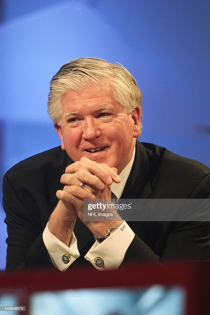 Toronto Maple Leafs General Manager <a gi-track='captionPersonalityLinkClicked' href=/galleries/search?phrase=Brian+Burke&family=editorial&specificpeople=546491 ng-click='$event.stopPropagation()'>Brian Burke</a> at the NHL Draft Lottery on April 10, 2012 at the TSN Studios in Toronto, Ontario, Canada.