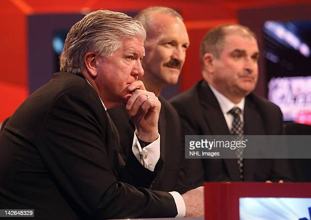 Toronto Maple Leafs General Manager Brian Burke New York Islanders Director of Pro Scouting Ken Morrow and Montreal Canadiens Assistant General...