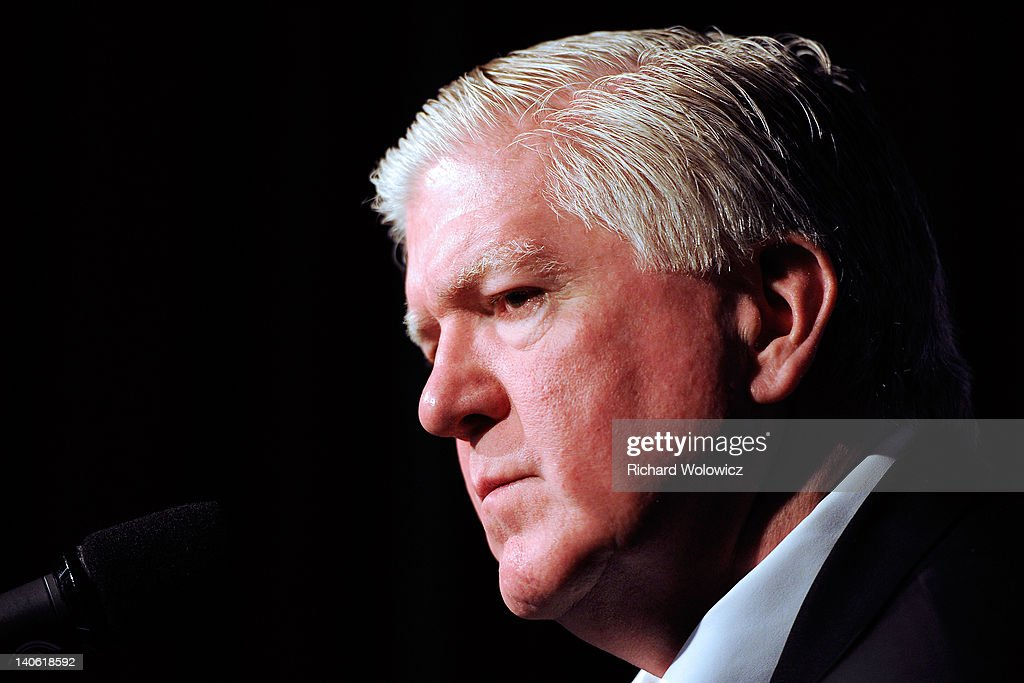 Toronto Maple Leafs General Manager <a gi-track='captionPersonalityLinkClicked' href=/galleries/search?phrase=Brian+Burke&family=editorial&specificpeople=546491 ng-click='$event.stopPropagation()'>Brian Burke</a> speaks to the media during a press conference to introduce new head coach Randy Carlyle at the Bell Centre on March 3, 2012 in Montreal, Quebec, Canada.