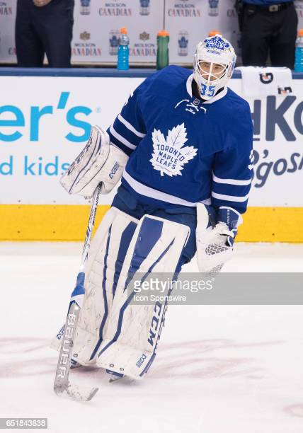 Toronto Maple Leafs goalie Curtis McElhinney skates during the warm up before a game against the Detroit Red Wings at Air Canada Centre in Toronto...