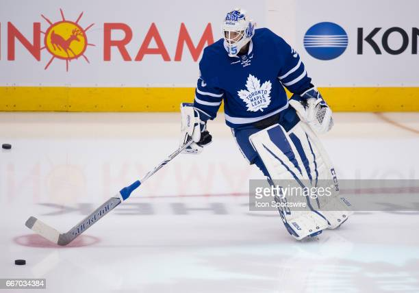 Toronto Maple Leafs goalie Curtis McElhinney skates during the warm up before a game against the Columbus Blue Jackets on April 9 at Air Canada...