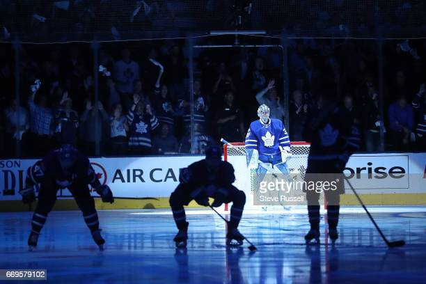TORONTO ON APRIL 17 Toronto Maple Leafs goalie Frederik Andersen is introduced as the Toronto Maple Leafs play the Washington Capitals in game three...