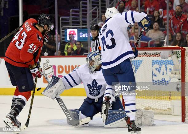 Toronto Maple Leafs goalie Frederik Andersen makes a second period save on a shot by Washington Capitals right wing Tom Wilson on April 13 at the...
