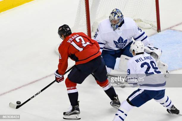 Toronto Maple Leafs goalie Frederik Andersen makes a third period save on a shot by Washington Capitals left wing Jakub Vrana on October 17 at the...