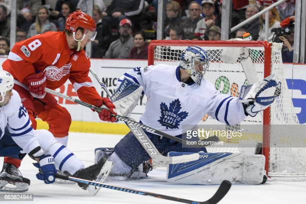Toronto Maple Leafs goalie Frederik Andersen makes this glove save during the NHL hockey game between the Toronto Maple Leafs and Detroit Red Wings...