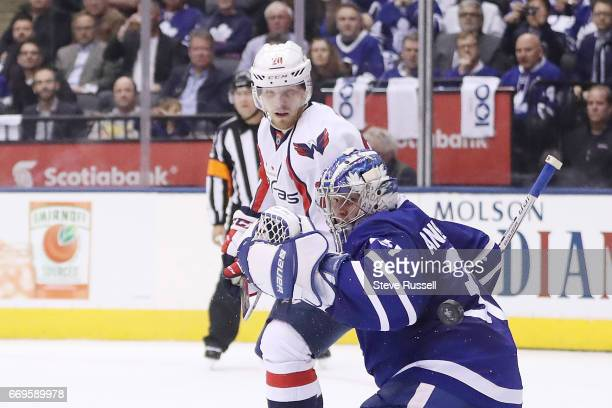 TORONTO ON APRIL 17 Toronto Maple Leafs goalie Frederik Andersen stops Lars Eller in close as the Toronto Maple Leafs play the Washington Capitals in...