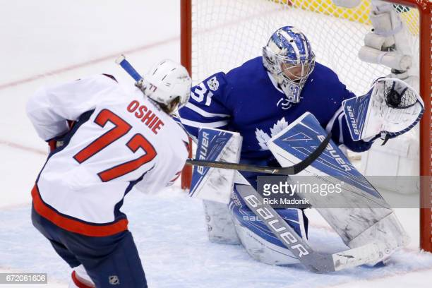 Toronto Maple Leafs goalie Frederik Andersen with a big stop on Washington Capitals right wing TJ Oshie Toronto Maple Leafs VS Washington Capitals...