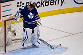 TORONTO ON OCTOBER 10 Toronto Maple Leafs goalie James Reimer bows his head after the Ottawa Senators score their third goal during the second...