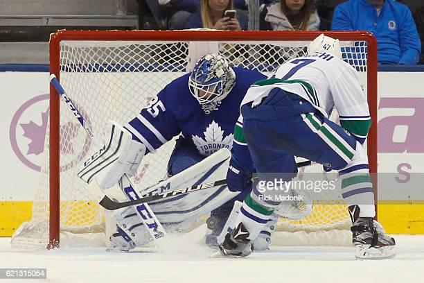 Toronto Maple Leafs goalie Jhonas Enroth stops Vancouver Canucks left wing Sven Baertschi Toronto Maple Leafs V Vancouver Canucks during3rd period...
