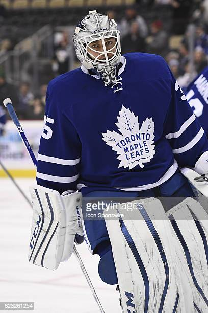 Toronto Maple Leafs Goalie Jhonas Enroth warms up before the game between the Pittsburgh Penguins and the Toronto Maple Leafs on November 12 at PPG...