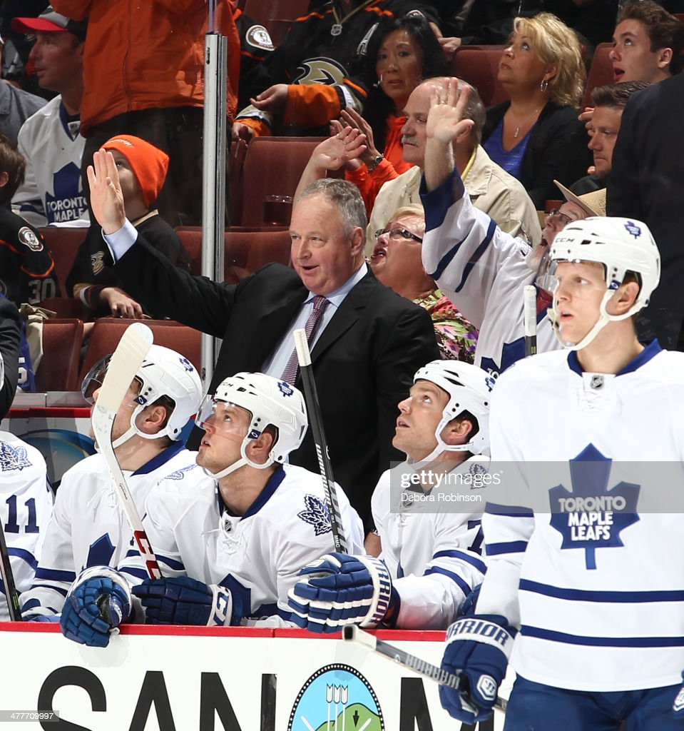 Toronto Maple Leafs head coach Randy Carlyle is acknowledged during the game against the Anaheim Ducks on March 10 2014 at Honda Center in Anaheim...