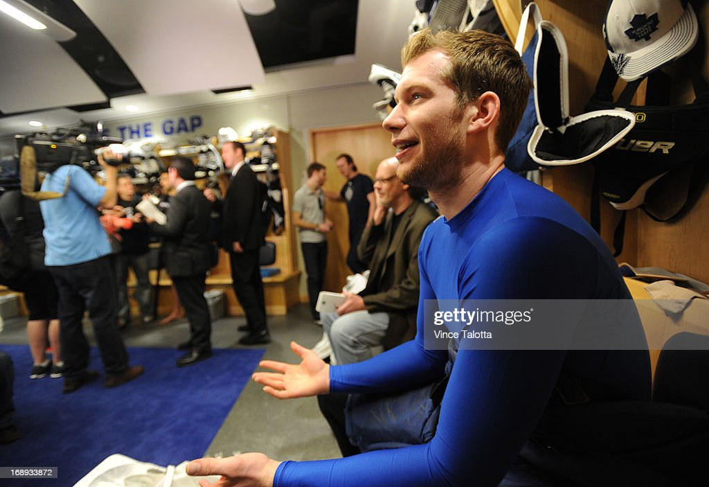 Toronto Maple Leafs James Reimer talks to media at the end of the Maple Leafs season at the ACC.