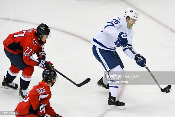 Toronto Maple Leafs left wing James van Riemsdyk skates in the third period against Washington Capitals right wing TJ Oshie on October 17 at the...