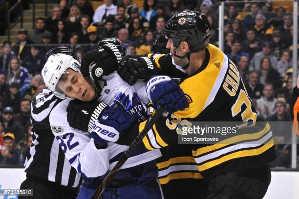 Toronto Maple Leafs Left Wing Josh Leivo should learn not to pick on people bigger as Boston Bruins Defenceman Zdeno Chara give him a shot upside the...