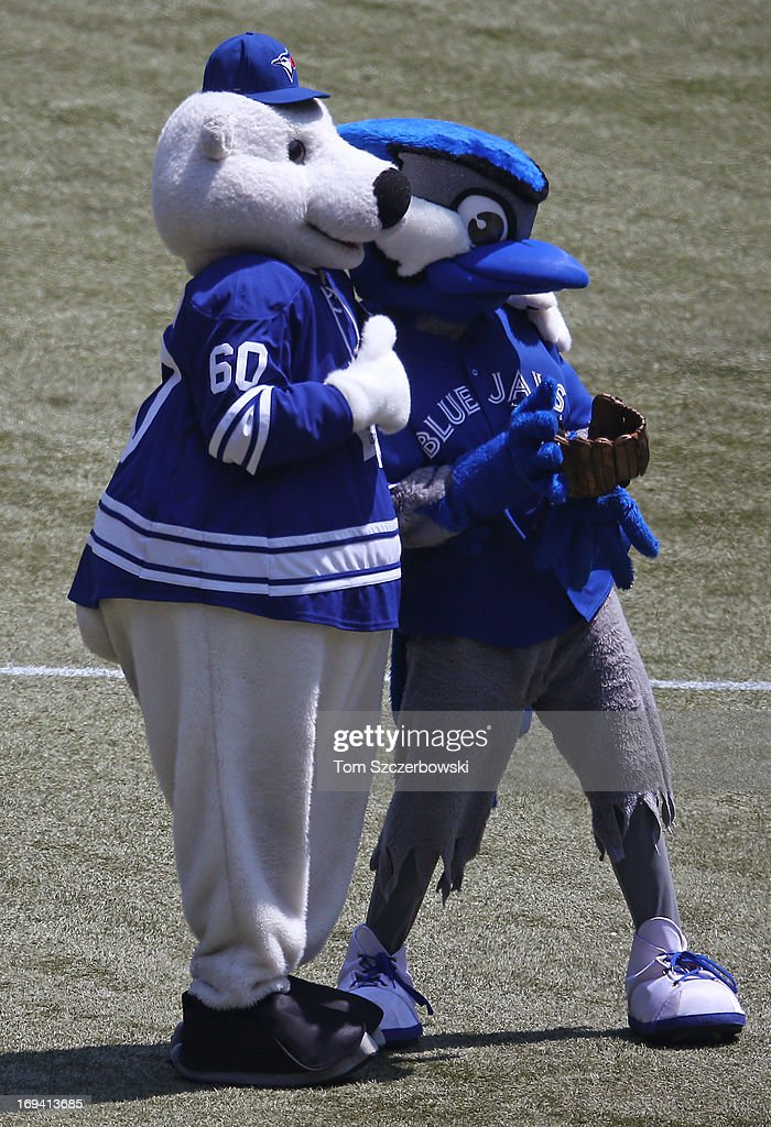 Toronto Maple Leafs mascot Carlton poses with Toronto Blue Jays mascot Ace after throwing out the first pitch before an MLB game against the Tampa Bay Rays on May 20, 2013 at Rogers Centre in Toronto, Ontario, Canada.