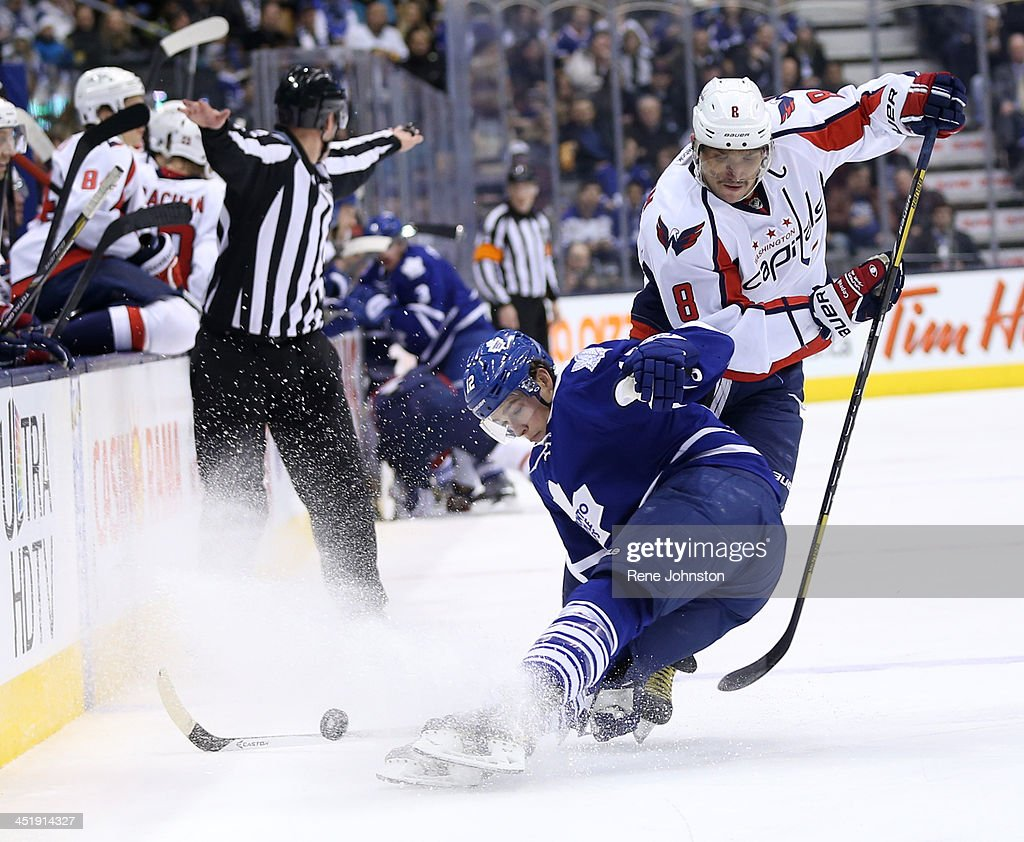 TORONTO, ON -NOVEMBER 23 - Toronto Maple Leafs Mason Raymond slides out while the Washington Capitals Alexander Ovechkin fakes him out in the second period .Toronto, November 23, 2013.