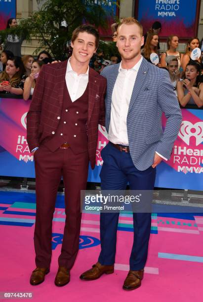 Toronto Maple Leafs' Mitch Marner and Calgary Flames' Sam Bennett arrive at the 2017 iHeartRADIO MuchMusic Video Awards at MuchMusic HQ on June 18...