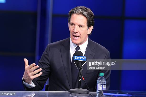 Toronto Maple Leafs president Brendan Shanahan answers questions from reporters at the press conference announcing Mike Babcock is their new head...