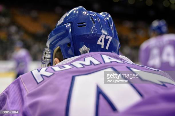 Toronto Maple Leafs Right Wing Leo Komarov wears a special jersey in support of a cure for Cancer before the NHL regular season hockey game between...