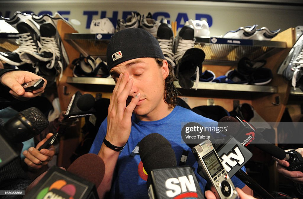 Toronto Maple Leafs Tyler Bozak talks to media at the end of the Maple Leafs season at the ACC.
