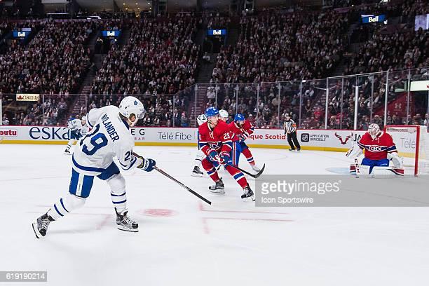 Toronto Maple Leafs Winger William Nylander shooting on Montreal Canadiens Goalie Carey Price during the Toronto Maple Leafs versus the Montreal...