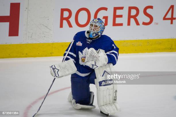 Toronto Marlies goalie Jhonas Enroth during a time out Toronto Marlies vs Albany Devils during 2nd period action of Game 3 in AHL playoff match up at...