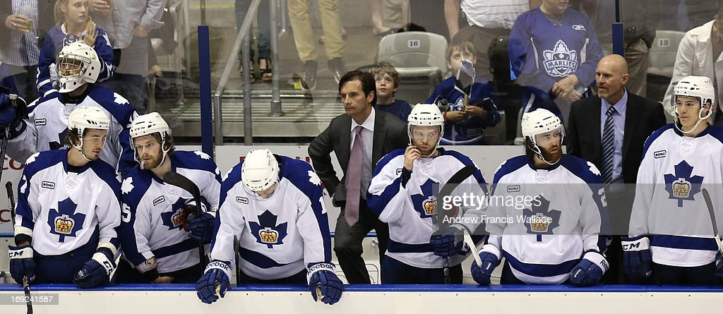 Toronto Marlies head coach Dallas Eakins at the bench after losing 4-3 to Grand Rapids Griffins in Game 6 of the AHL Western Conference semifinals. The Griffins defeated the Marlies 4-3 to win the best-of-seven series.