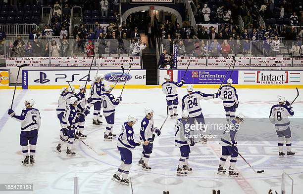 Toronto Marlies salute the fans at the end of the game The Toronto Marlies defeated the Hamilton Bulldogs 21 at the Ricoh Coliseum in Toronto October...