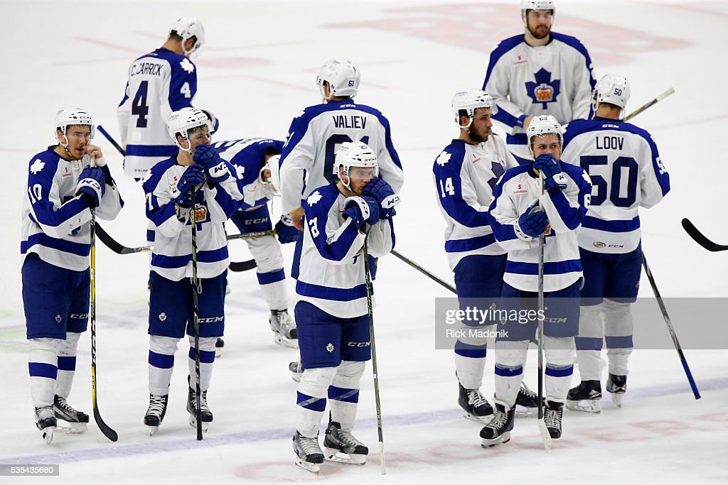 Toronto Marlies wait for the handshakes after their defeat. Toronto Marlies V Hersey Bears during 3rd period play of Game 5 of AHL playoff action at the Ricoh Coliseum. Marlins lose 3-2 and Hersey wins the series 4-1. Toronto Star/Rick Madonik