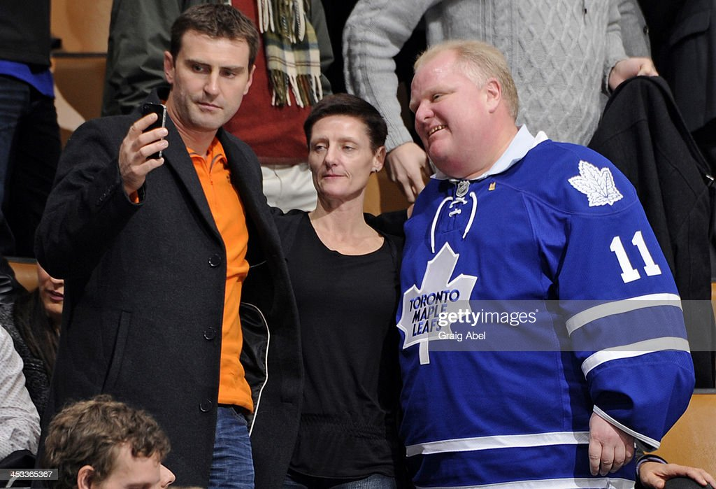 Toronto Mayor Rob Ford poses for a picture during NHL game action between the Toronto Maple Leafs and the San Jose Sharks December 3, 2013 at the Air Canada Centre in Toronto, Ontario, Canada.