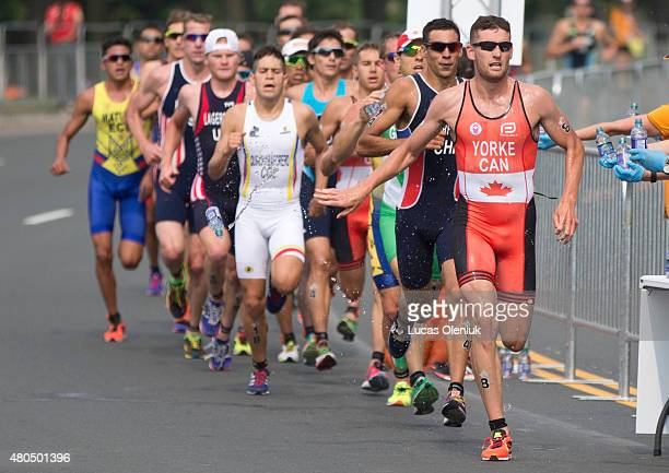 Toronto On JULY 12 2015 Canada's Andrew Yorke finished 7th after leading the race during the first kilometre of the run at the 2015 Pan Am games...