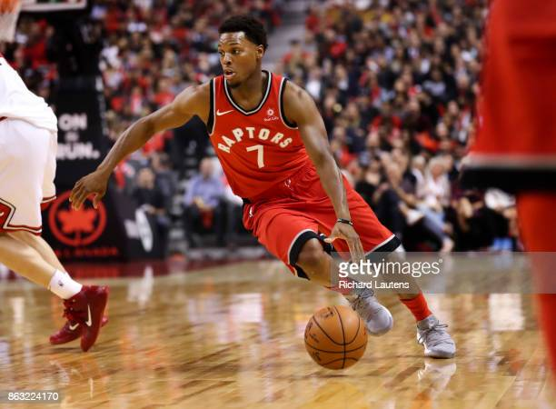 Toronto ON OCTOBER 19 In first half action Toronto Raptors guard Kyle Lowry works the floor The Toronto Raptors took on the Chicago Bulls in NBA...