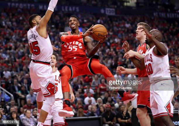 Toronto ON OCTOBER 19 In first half action Toronto Raptors guard Delon Wright goes up gets a basket gets fouled and makes the free throw The Toronto...