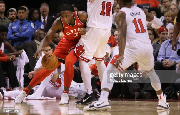 Toronto ON OCTOBER 19 In second half action Toronto Raptors forward OG Anunoby works some offence against Chicago Bulls guard Paul Zipser The Toronto...
