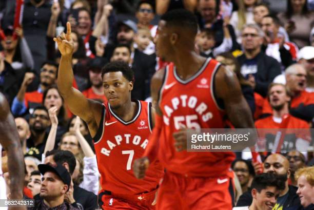 Toronto ON OCTOBER 19 In second half action Toronto Raptors guard Kyle Lowry starts celebrating late in the 4th quarter The Toronto Raptors beat the...