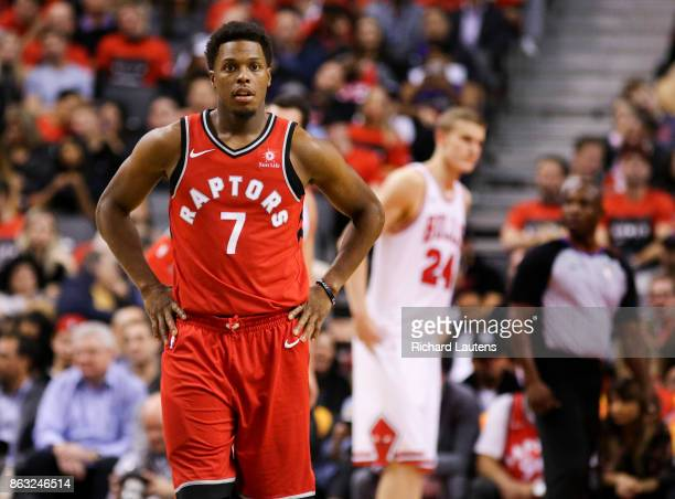 Toronto ON OCTOBER 19 In second half action Toronto Raptors guard Kyle Lowry waits out a break The Toronto Raptors beat the Chicago Bulls 117101 in...