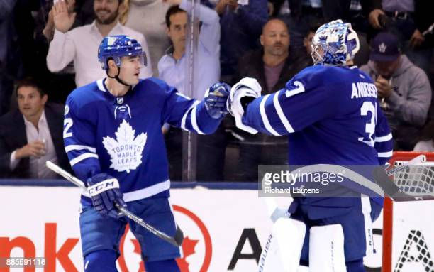 Toronto ON OCTOBER 23 At the end of the game Toronto Maple Leafs center Patrick Marleau goalie Frederik Andersen The Toronto Maple Leafs beat the Los...