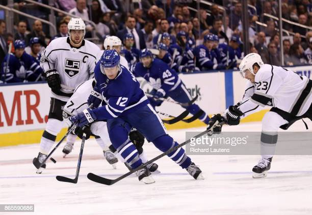 Toronto ON OCTOBER 23 In third period action Toronto Maple Leafs center Patrick Marleau drives to the net The Toronto Maple Leafs beat the Los...