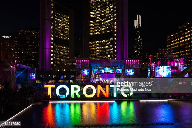 SQUARE TORONTO ONTARIO CANADA Toronto Pan American Games 2015 ambience Nathan Phillips Square during Panamania the cultural festival that goes along...
