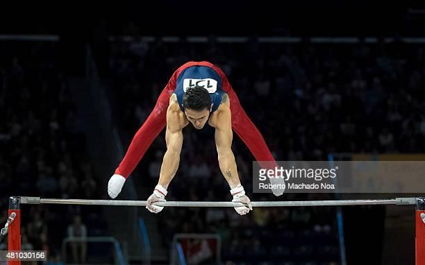 COLISEUM TORONTO ONTARIO CANADA Toronto Panam Games 2015 Josimar Calvo Moreno from Colombia works in the Horizontal Bar in Gymnastic Artistic He gets...