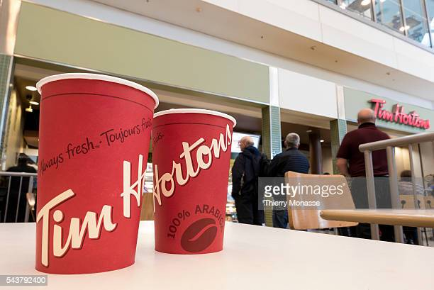 Toronto Pearson International Airport Ontario Canada January 7 2016 Tim Hortons Cafe and Bake Shop in Toronto airport Tim Hortons Inc is a Canadian...