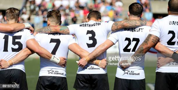 TORONTO ON JUNE 3 Toronto players link arms for the anthems Canada's first professional rugby team the Toronto Wolfpack beat the Coventry Bears 5612...